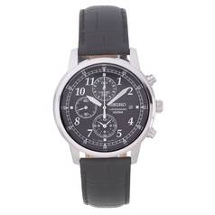 Seiko Men's Black Leather Strap Chronograph Watch