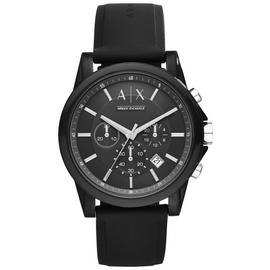 Armani Exchange Men's Black Silicone Chronograph Watch