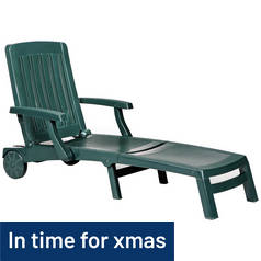 Argos Home Deluxe Green Resin Sun Lounger