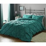 more details on Heart of House Hadley Teal Pintuck Bedding Set - Double.
