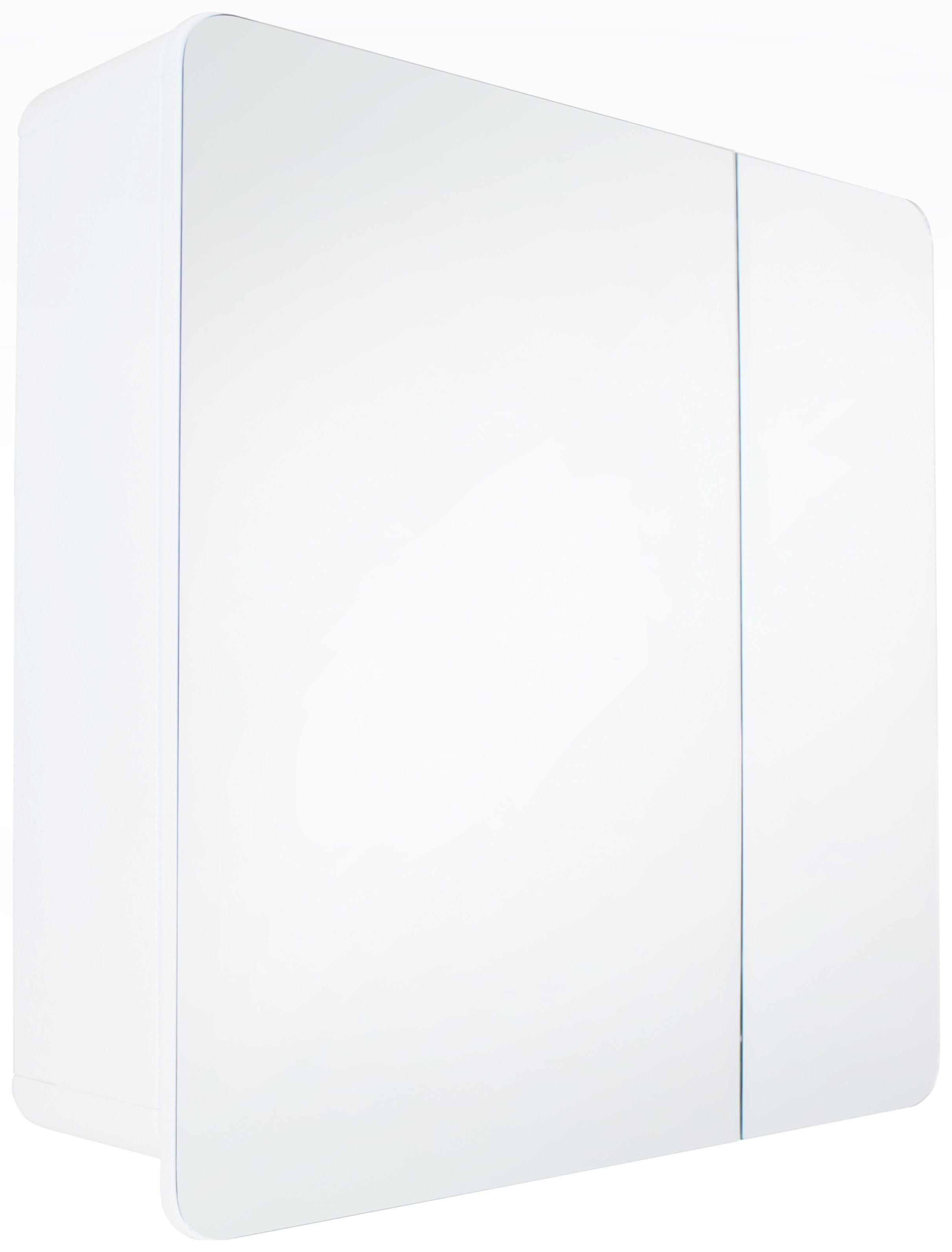 Hygena Curve Double Door Mirrored Bathroom Cabinet   White