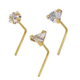 State of Mine 9ct Yellow Gold Crystal Nose Studs - Set of 3