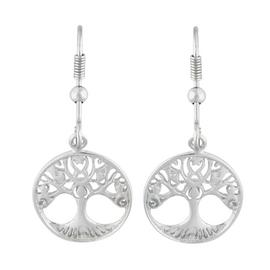 Moon and Back Sterling Silver Tree of life Drop Earrings
