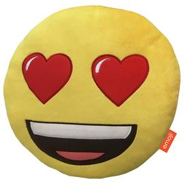 Emoji Round Heart Eyes Cushion - Yellow.
