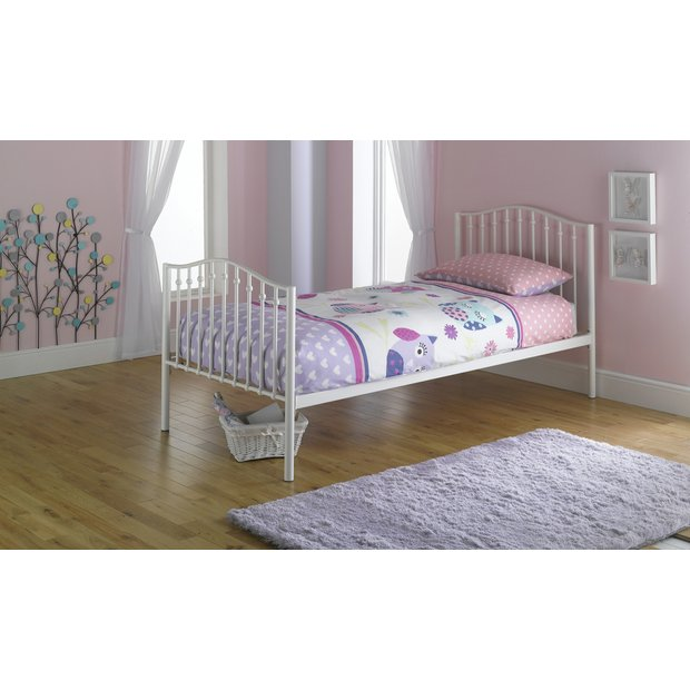 Buy romantic metal single bed with ashley mattress cream at your online shop for Home furniture single bed