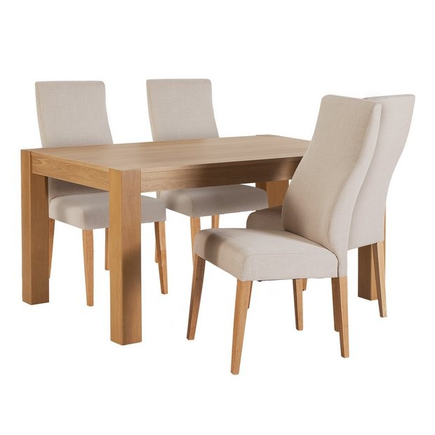 Buy heart of house alston 150cm table 4 curve chairs oatmeal at your online Buy home furniture online uk