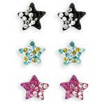 more details on Miss Glitter Silver Kids Crystal Star Studs - Set of 3.