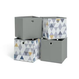 Habitat Set of 4 Squares Plus Boxes - Mosaic & Soft Grey