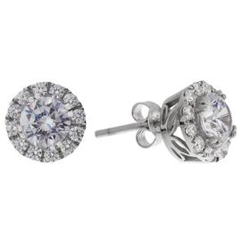 Revere Sterling Silver Round CZ Halo Stud Earrings