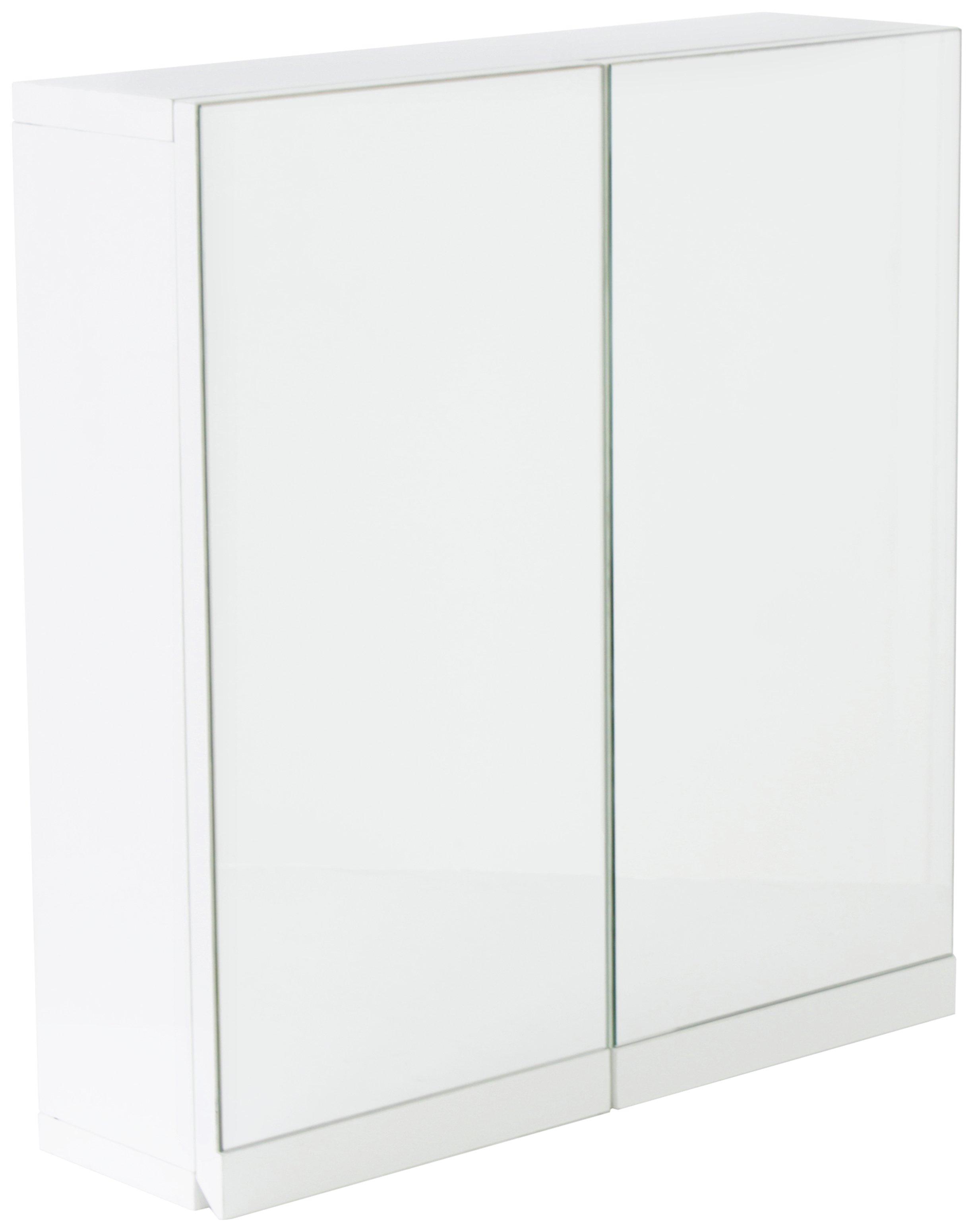 hygena gloss 2 door bathroom wall cabinet white