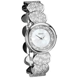 Seksy Ladies Stainless Steel Crystal Set Watch