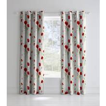 Catherine Lansfield Wild Poppies Lined Curtains - 168x183cm.