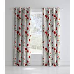 Catherine Lansfield Wild Poppies Lined Curtains 168x183cm