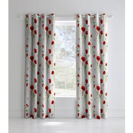 Catherine Lansfield Wild Poppies Lined Curtains - 168x183cm