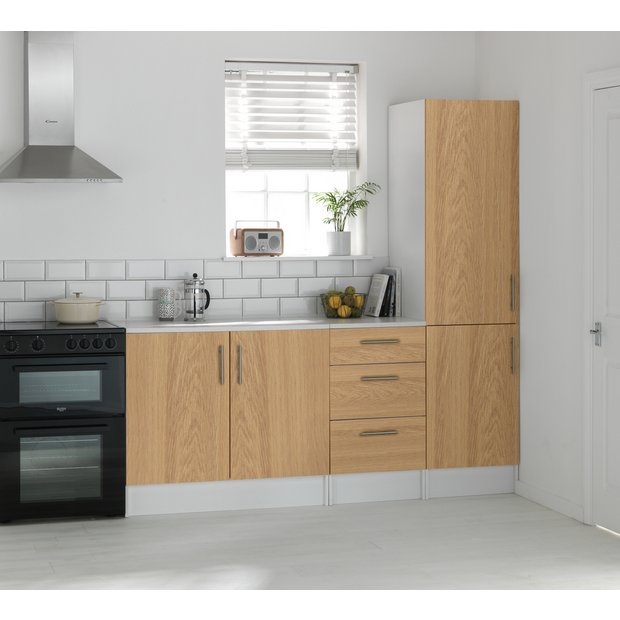 Buy athina 3 piece fitted kitchen unit package oak at for Kitchen unit set