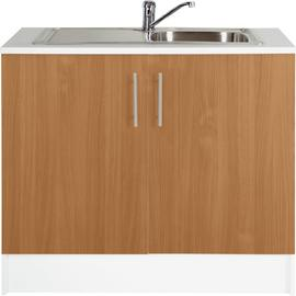 Argos Home Athina S.Steel Kitchen Sink Unit - Beech Effect