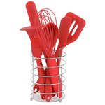more details on HOME 8 Piece Silicone Utensils Set - Red.
