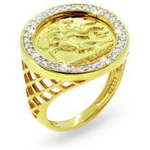 Revere Men's Gold Plated Sterling Silver CZ Medallion Ring