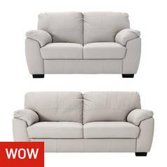 4b7d12205f0 Argos Home Milano Leather 2   3 Seater Sofas - Light Grey