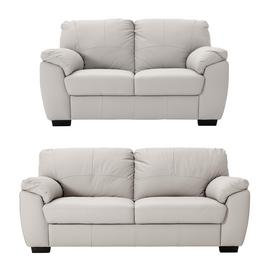 Argos Home Milano Leather 2 & 3 Seater Sofas - Light Grey