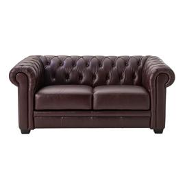 Argos Home Chesterfield 2 Seater Leather Sofa - Walnut