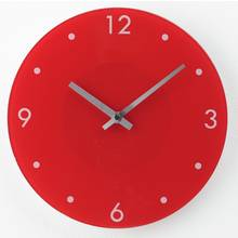 HOME Round Glass Wall Clock - Red