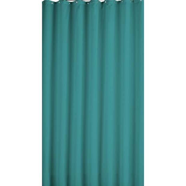 Buy home plain shower curtain teal at your for Bathroom accessories argos