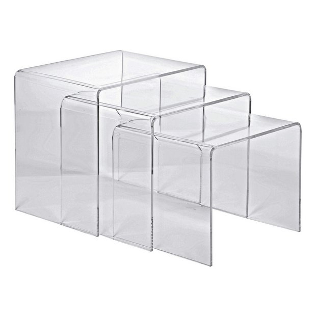Buy hygena mistral nest of 3 tables clear acrylic coffee tables buy hygena mistral nest of 3 tables clear acrylic coffee tables side tables and nest of tables argos watchthetrailerfo