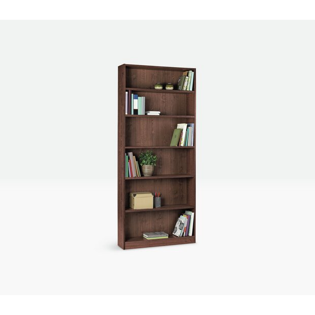 Buy home maine tall wide bookcase walnut effect at your online shop for Walnut effect living room furniture