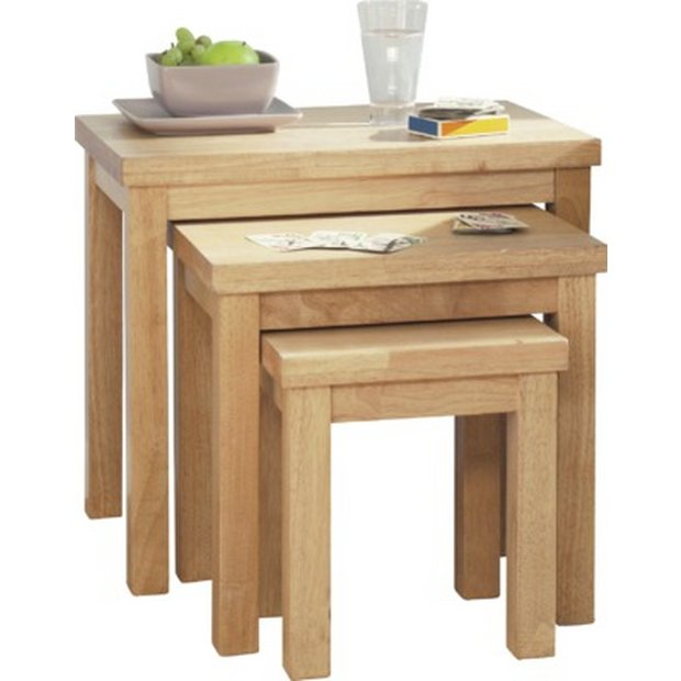 Buy home gloucester nest of 3 solid wood tables natural at your online shop for Buy home furniture online uk