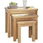 more details on HOME Gloucester Nest of 3 Solid Wood Tables - Natural.