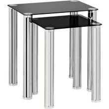 HOME Matrix Nest of 2 Glass Tables - Black
