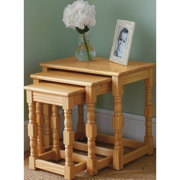 Buy Home Devon Nest Of 3 Solid Pine Tables Oak Effect At