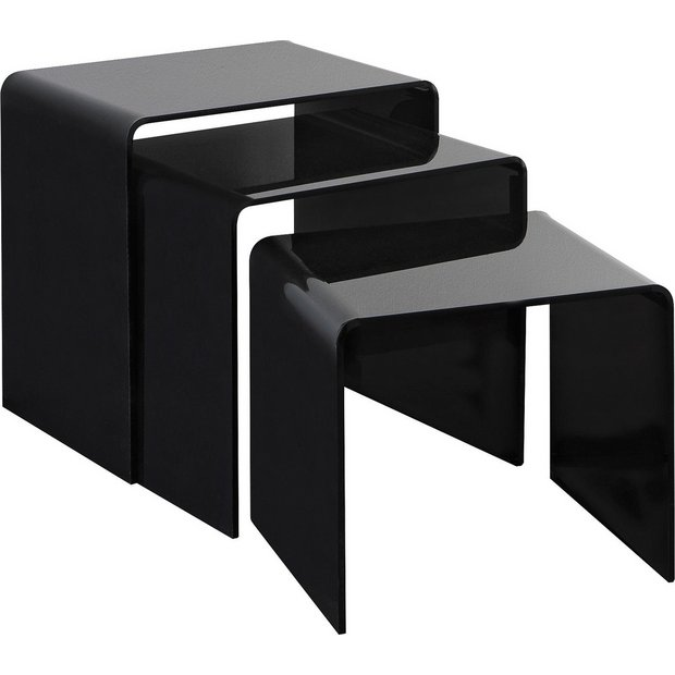 buy hygena mistral nest of 3 tables black acrylic at your online shop for coffee. Black Bedroom Furniture Sets. Home Design Ideas