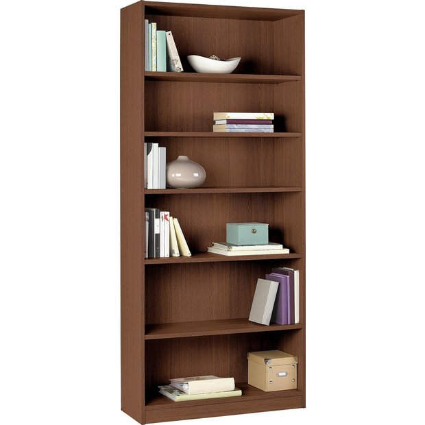 Buy home maine tall and wide extra deep bookcase walnut effect at your online Walnut effect living room furniture