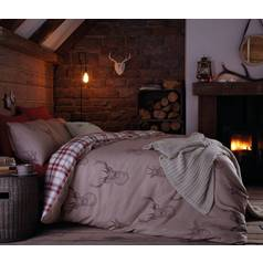 Catherine Lansfield Natural Stag Duvet Cover Set - Kingsize