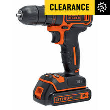 Black and Decker Cordless Drill Driver with 1 Battery - 18V