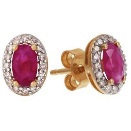 Revere 9ct Yellow Gold Ruby and Diamond Cluster Earrings