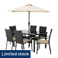 HOME Lima 6 Seater Rattan Effect Patio Set