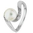 more details on Sterling Silver Freshwater Pearl and CZ Crossover Ring.