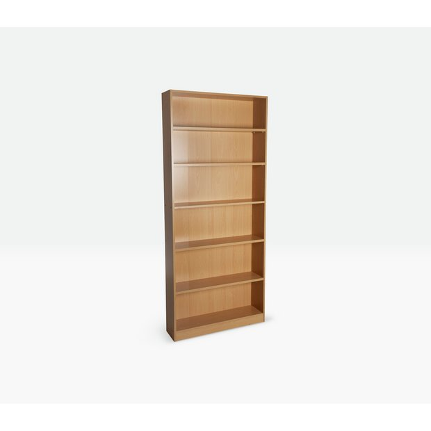 Buy home maine 5 shelf tall wide bookcase beech effect at your online shop for Buy home furniture online uk