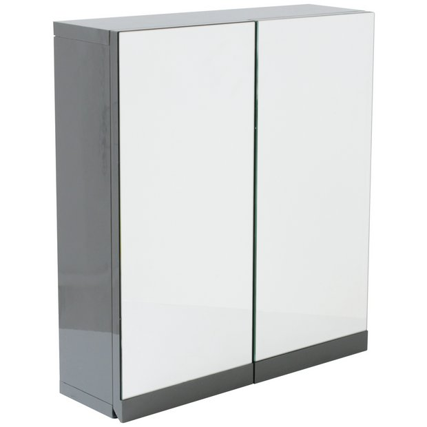 Buy Hygena Gloss Double Door Bathroom Wall Cabinet - Grey at Argos.co.uk -  Your Online Shop for Bathroom cabinets, Bathroom furniture, Home and garden. - Buy Hygena Gloss Double Door Bathroom Wall Cabinet - Grey At Argos