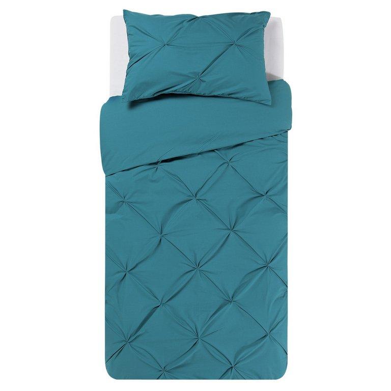 Buy Heart Of House Hadley Teal Pintuck Bedding Set