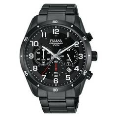 Pulsar Men's Black Stainless Steel Chronograph Watch