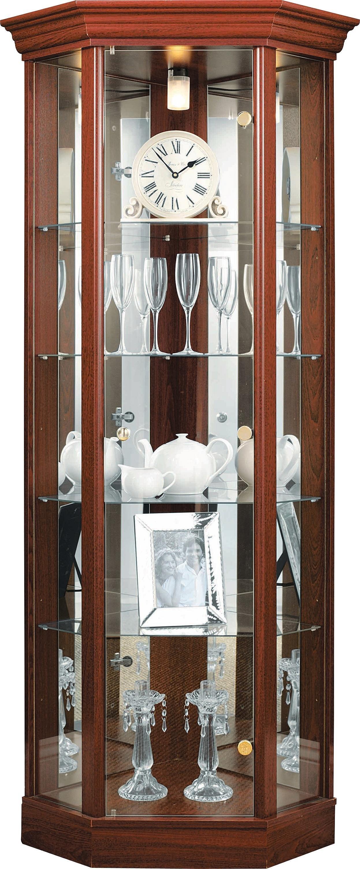 HOME 1 Glass Door Corner Display Cabinet   Mahogany Effect