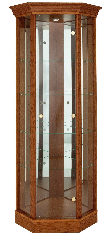 HOME 1 Glass Door Corner Display Cabinet   Dark Oak Effect