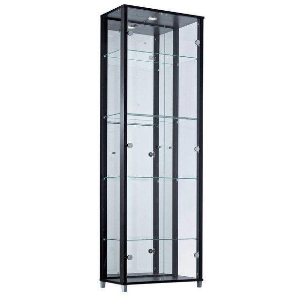 buy home double glass door display cabinet black at. Black Bedroom Furniture Sets. Home Design Ideas