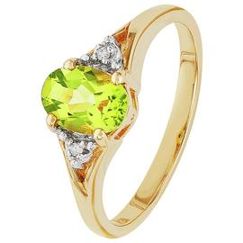 Revere 9ct Yellow Gold Peridot and Diamond Accent Oval Ring