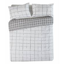 HOME Grey Grid Bedding Set - Double