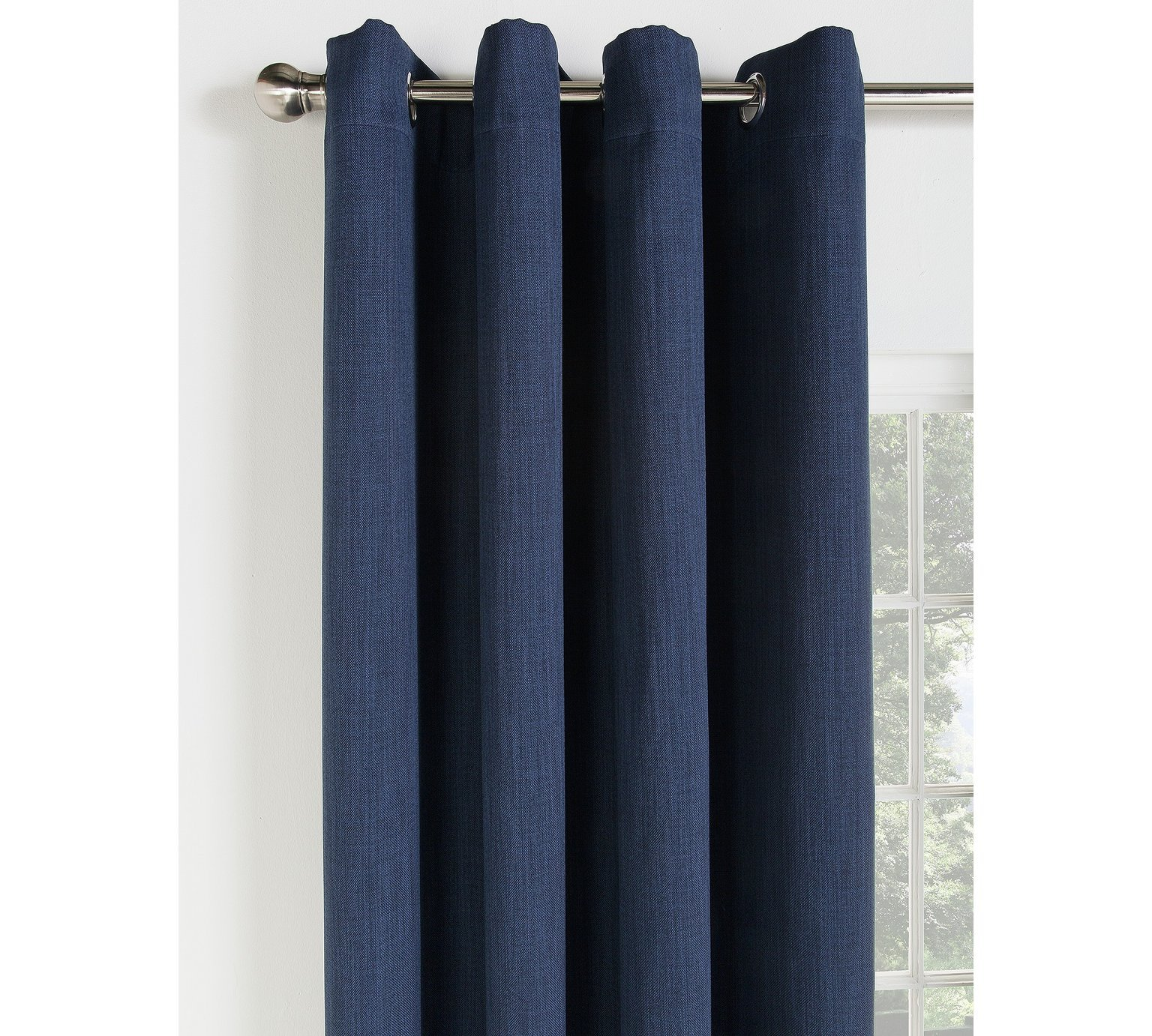 Collection Linen Look Blackout Curtains   168x183cm   Navy